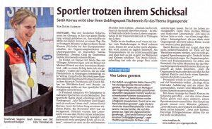 Stuttgarter Nachrichten: Artikel vom 2016-08-18, Sahrah Kornau bei der EM der Organtranspantierten